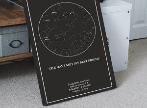 Juodas zvaigzdziu zemelapis, Žvaigždžių žemėlapiai, pažymėti svarbia data, dangaus pasas, Žvaigždėlapis ant drobės, zvaigzdelapiai ant sienos5