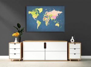zemelapiai ant drobes, zemelapaiantdrobes, žemėlapis su smeigtukais, pasaulio žemėlapiai ant sienos1
