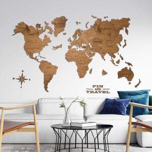 mediniai pasaulio žemėlapiai ant sienos