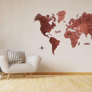 Medinis žemėlapis, pasaulio žemėlapiai iš medžio. pinandtravel, žemėlapių pjovimas lazeriu, mediniai zemelapiai