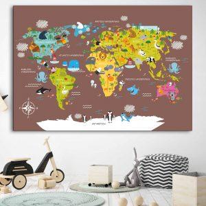 Vaikiškas žemelapis ant sienos žalias, vaikiški žemėlapiai,vaikiškas pasaulio žemėlapis vaikams4