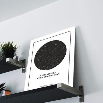 Juodas su baltu zvaigzdziu zemelapis, Žvaigždžių žemėlapiai, pažymėti svarbia data, dangaus pasas, Žvaigždėlapis ant drobės, zvaigzdelapiai ant sienos5