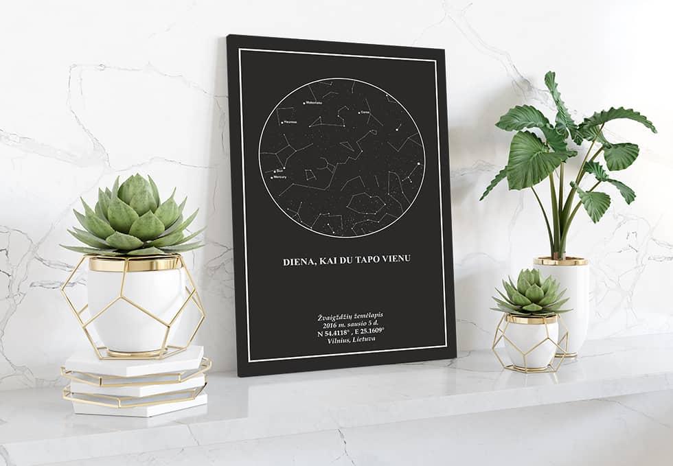 Juodas su baltu zvaigzdziu zemelapis, Žvaigždžių žemėlapiai, pažymėti svarbia data, dangaus pasas, Žvaigždėlapis ant drobės, zvaigzdelapiai ant sienos6