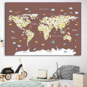 Vaikiškas žemelapis ant sienos tamsiai rudas, vaikiški žemėlapiai,vaikiškas pasaulio žemėlapis vaikams.