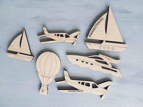 Dekoracijos, laivas, jachta,oro balionas, mediniai zemelapiai, dekoracija ant sienos.