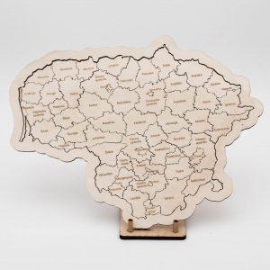 Mažas medinis Lietuvos žemėlapis