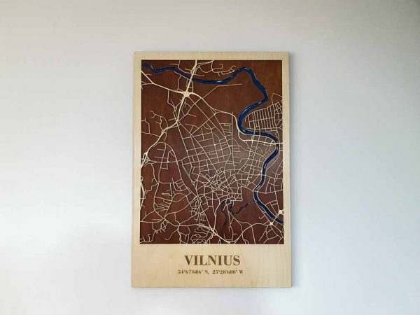 mediniai 3D Vilniaus miesto žemėlapiai, MEDINIS 3D MIESTO ŽEMĖLAPIS, zemelapiaiantdrobes, fosforas8