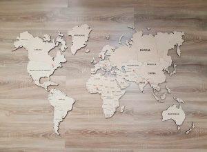 Medinis pasaulio žemėlapis su smeigtukais